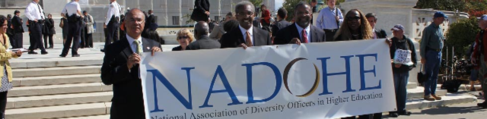 NADOHE leaders on Supreme Court steps with NADOHE banner